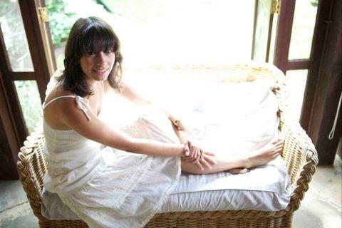 Human, Comfort, Sitting, Elbow, Long hair, Wicker, Daylighting, Lap, Bride, Wedding dress,