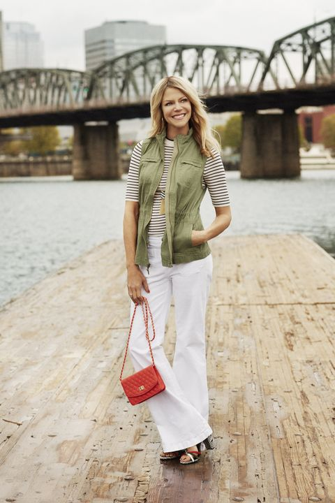 "<p>Look slimmer and taller in this ultra-flattering cut. One rule: Always pair them with heels. </p><p><em><strong>Vest</strong>, Merona, $30, <a href=""http://target.com"" target=""_blank"">target.com</a>. <strong>Sweater</strong>, $35, <a href=""http://hm.com"" target=""_blank"">hm.com</a>. <strong>Jeans</strong>, $70, <a href=""http://gap.com"" target=""_blank"">gap.com</a>. <strong>Hoops</strong>, $24, <a href=""http://marlynschiff.com"" target=""_blank"">marlynschiff.com</a>. <strong>Necklace</strong>, $40, <a href=""http://thelimited.com"" target=""_blank"">thelimited.com</a>. <strong>Gold ring</strong>, $90, and <strong>silver ring</strong>, $65, <a href=""http://pandora.net"" target=""_blank"">pandora.net</a>. <strong>Bag</strong>, $55, <a href=""http://urbanexpressions.net"" target=""_blank"">urbanexpressions.net</a> (25% off sitewide for </em>GH<em> readers with code UE-GOODHSKPG25). <strong>Shoes</strong>, $30, Primark stores.</em> </p><p><em><strong>On location:</strong> <a href=""https://www.portlandoregon.gov/parks/finder/index.cfm?&propertyid=105&action=viewpark"" target=""_blank"">Eastbank Esplanade</a></em> </p><p><em>Take a scenic stroll on the Williamette River.</em></p>"