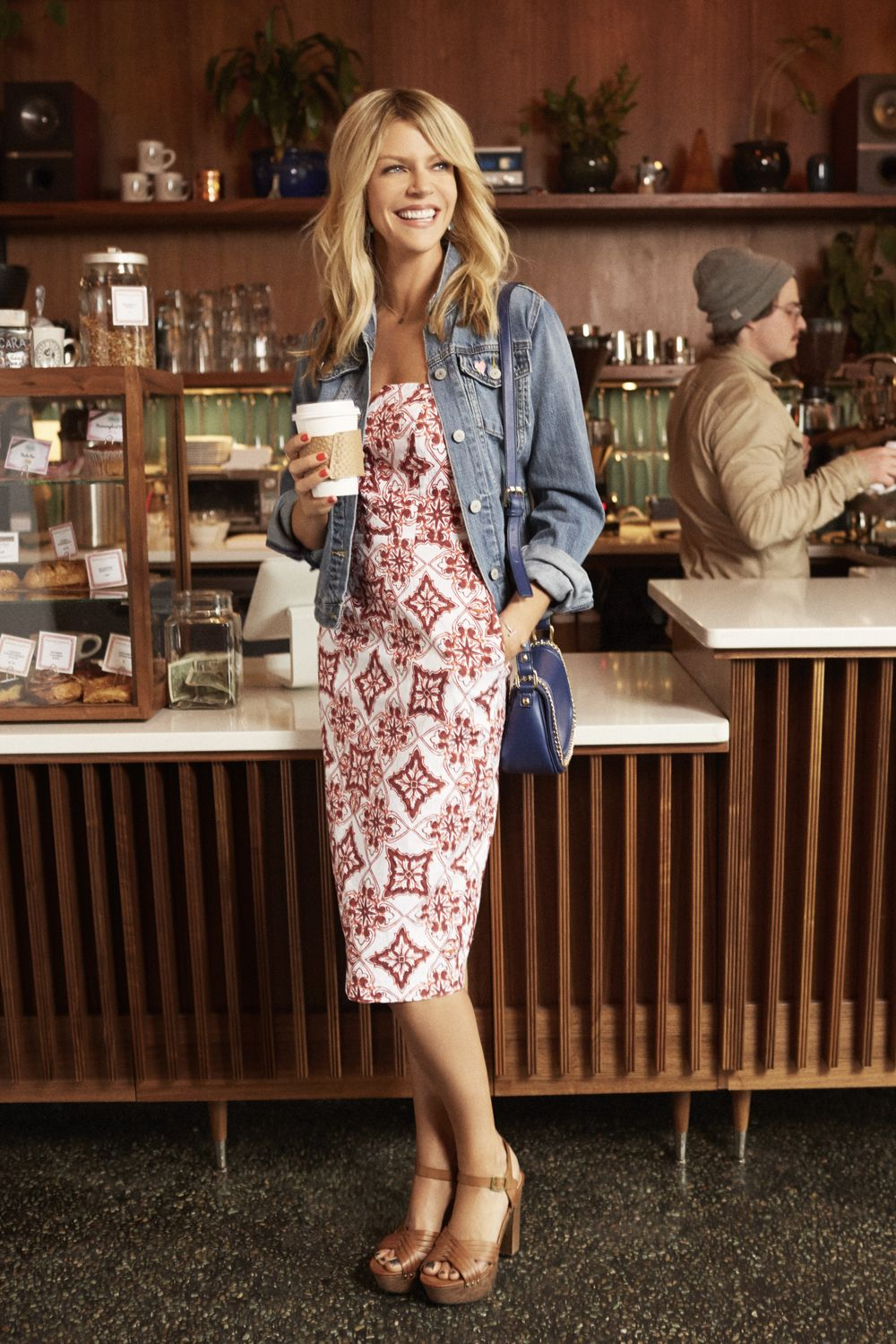"""<p>The exotic vacay print, usually reserved for flowy cover-ups, is more polished this season in flattering, curve-skimming silhouettes. </p><p><em><strong>Jacket</strong>, $70, <a href=""""http://gap.com"""" target=""""_blank"""">gap.com</a>. <strong>Dress</strong>, Eva Mendes Collection, $85, <a href=""""http://nyandcompany.com"""" target=""""_blank"""">nyandcompany.com</a>. <strong>Necklace</strong>, $70, <a href=""""http://threesistersjewelrydesign.com"""" target=""""_blank"""">threesistersjewelrydesign.com</a> (15% off sitewide for </em>GH<em> readers with code GH0715). <strong>Purse</strong>, French Connection, $88, <a href=""""http://macys.com"""" target=""""_blank"""">macys.com</a>. <strong>Bangle</strong>, $38, <a href=""""http://marlynschiff.com"""" target=""""_blank"""">marlynschiff.com</a>. <strong>Heels</strong>, Indigo Rd., $40, <a href=""""http://dsw.com"""" target=""""_blank"""">dsw.com</a>.<br><br> </em> </p><p><em><strong>On location:</strong> <a href=""""http://casestudycoffee.com/"""" target=""""_blank"""">Case Study Coffee</a></em> </p><p><em>Get your coffee fix — from a cappuccino to a cortado — at this cozy and hip roaster.</em></p>"""