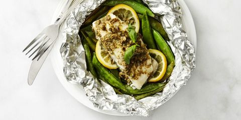 Fish Packets with Caper Butter Snap Peas