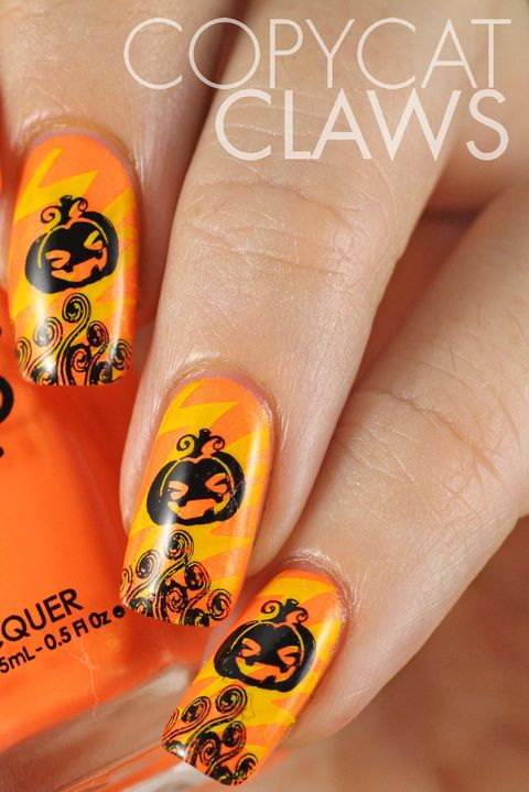 pumpkinhalloween nail art designs - 41 Halloween Nail Art Ideas - Easy Halloween Nail Polish Designs