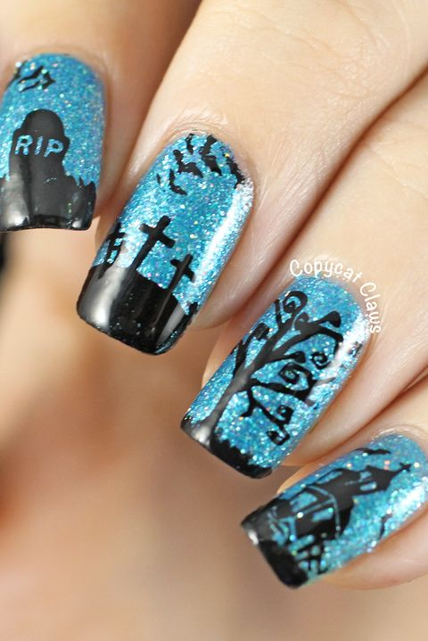 Graveyard Halloween nail art designs - 41 Halloween Nail Art Ideas - Easy Halloween Nail Polish Designs