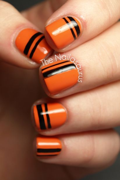 Striped Halloween Nails - 41 Halloween Nail Art Ideas - Easy Halloween Nail Polish Designs