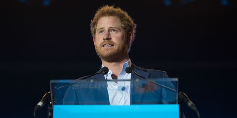 Prince Harry speaks on stage during the Sentebale Concert at Kensington Palace on June 28, 2016 in London, England.