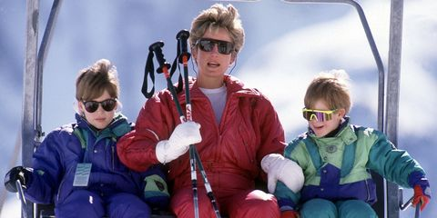 94c38fa8203 The Princess of Wales with her sons William and Harry on the chair lift  during a