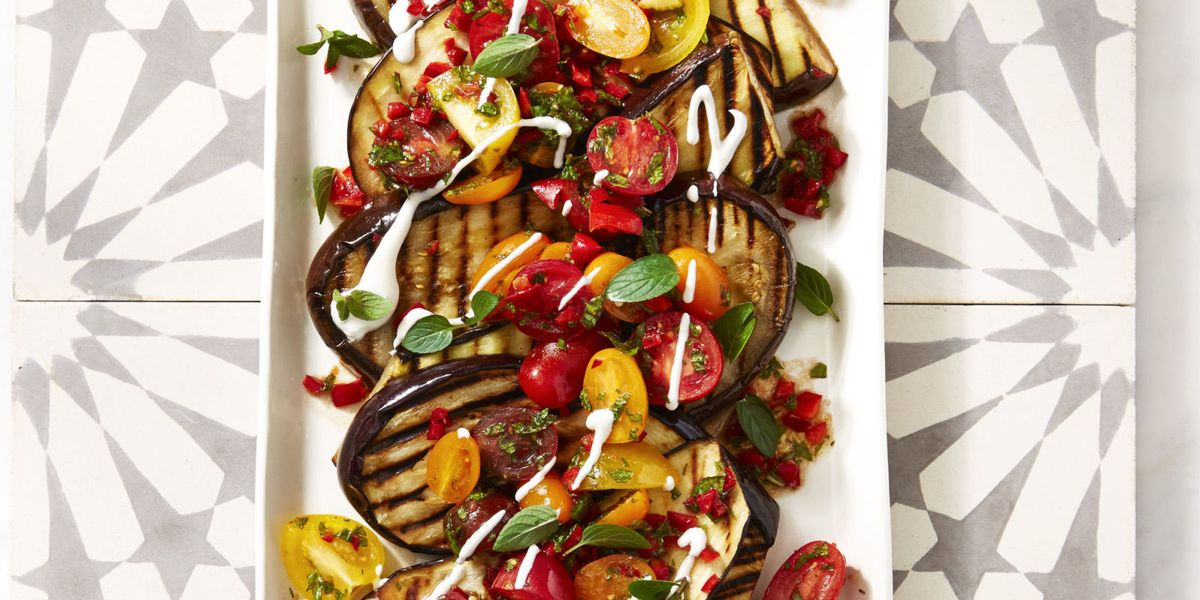 Best Cayenne Grilled Eggplant with Fresh Tomato Salad Recipe - GoodHousekeeping....