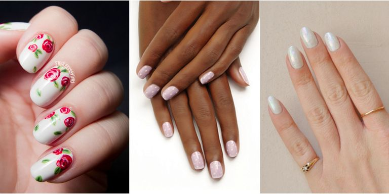 You've got the dress, the veil, the venue — and the partner, of course. But  what are you to do with your nails? For some brides, floral nail art is the  ... - Beautiful Nail Designs For Weddings - Bridal Nail Art Ideas