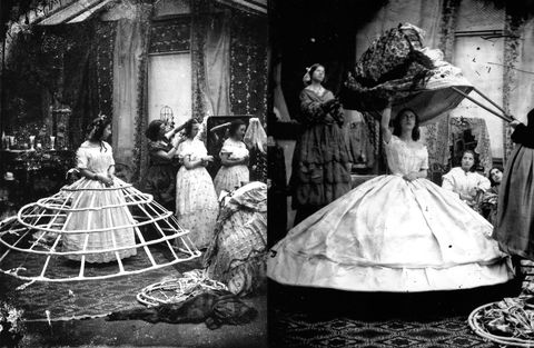 <p>In another example of hard-to-sit-in undergarments, we have the hoop skirt. This circular wire cage served as frame and foundation for the vast crinolines and full skirts that were popular at the time. We imagine walking through doors would've been a challenge as well. </p>