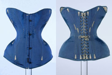 <p>By the mid-19th century, silhouettes had shifted to become more hourglass, with extreme cinching of the waist made possible by steel or whale-bone corsets. Breathing optional.  </p>