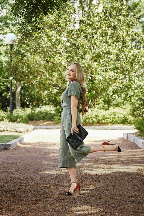 """<p>Look perfectly pulled together (in 30 seconds or less!) with a chic jumpsuit in a fabulous fabric like linen or silk.</p><p><em><strong>Jumpsuit</strong>, $299, <a href=""""http://7forallmankind.com"""" target=""""_blank"""">7forallmankind.com</a>. <strong>Scarf</strong>, $13, <a href=""""http://ae.com"""" target=""""_blank"""">ae.com</a>. <strong>Clutch</strong>, Elliott Lucca, $128, <a href=""""http://zappos.com"""" target=""""_blank"""">zappos.com</a>. <strong>Heels</strong>, $125, <a href=""""http://whbm.com"""" target=""""_blank"""">whbm.com</a>.</em></p><p><em><strong>On location:</strong> <a href=""""https://www.uga.edu/"""" target=""""_blank"""">University of Georgia</a><br></em><em>Take a scenic stroll on the University of Georgia's North Campus, home to stone-lined sidewalks, flowering magnolias and — of course — the Bulldogs.</em></p>"""