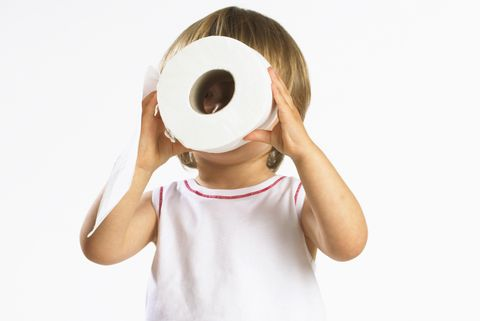 kid looking through toilet paper