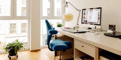 Room, Window, Office chair, Furniture, Table, Flooring, Interior design, Computer desk, Floor, Display device,