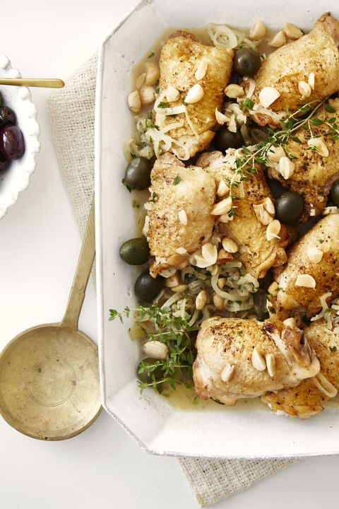 Braised Chicken Thighs with Almonds and Olives - Healthy Chicken Dinners