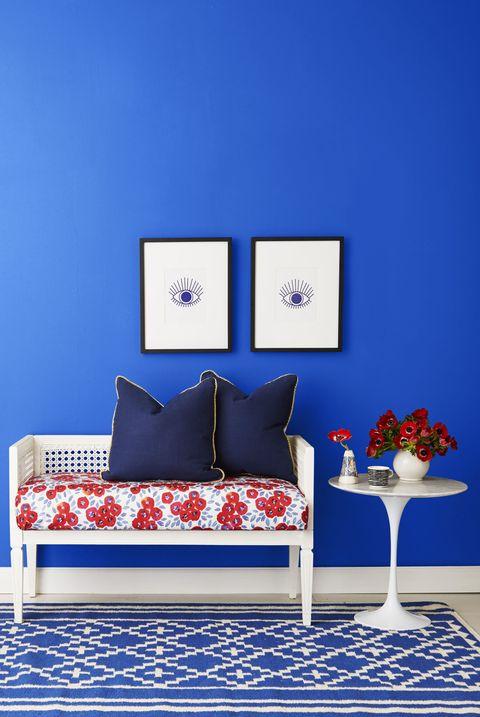 Blue, Room, Majorelle blue, Furniture, Pillow, Throw pillow, Interior design, Interior design, Electric blue, Cushion,