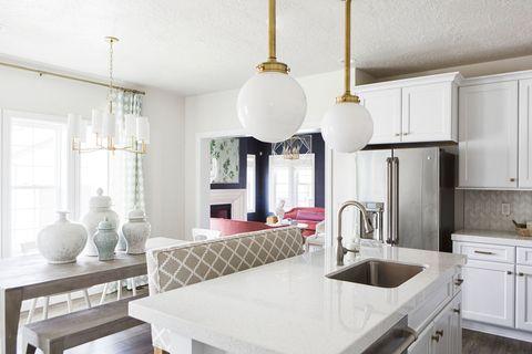 Room, Green, Interior design, Property, Plumbing fixture, Home, White, Floor, Kitchen sink, Ceiling,