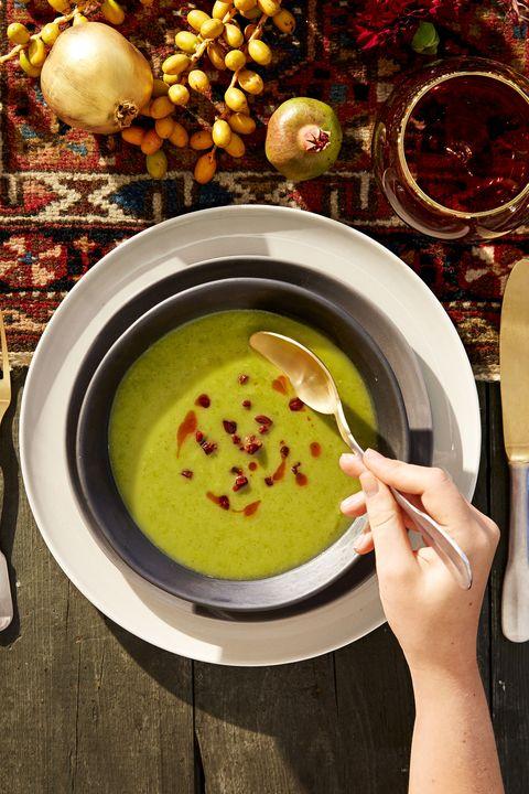 thanksgiving appetizers   potato kale soup with crispy chorizo