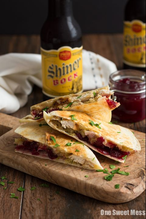 turkey stuffing and cranberry quesadilla - leftover stuffing recipes