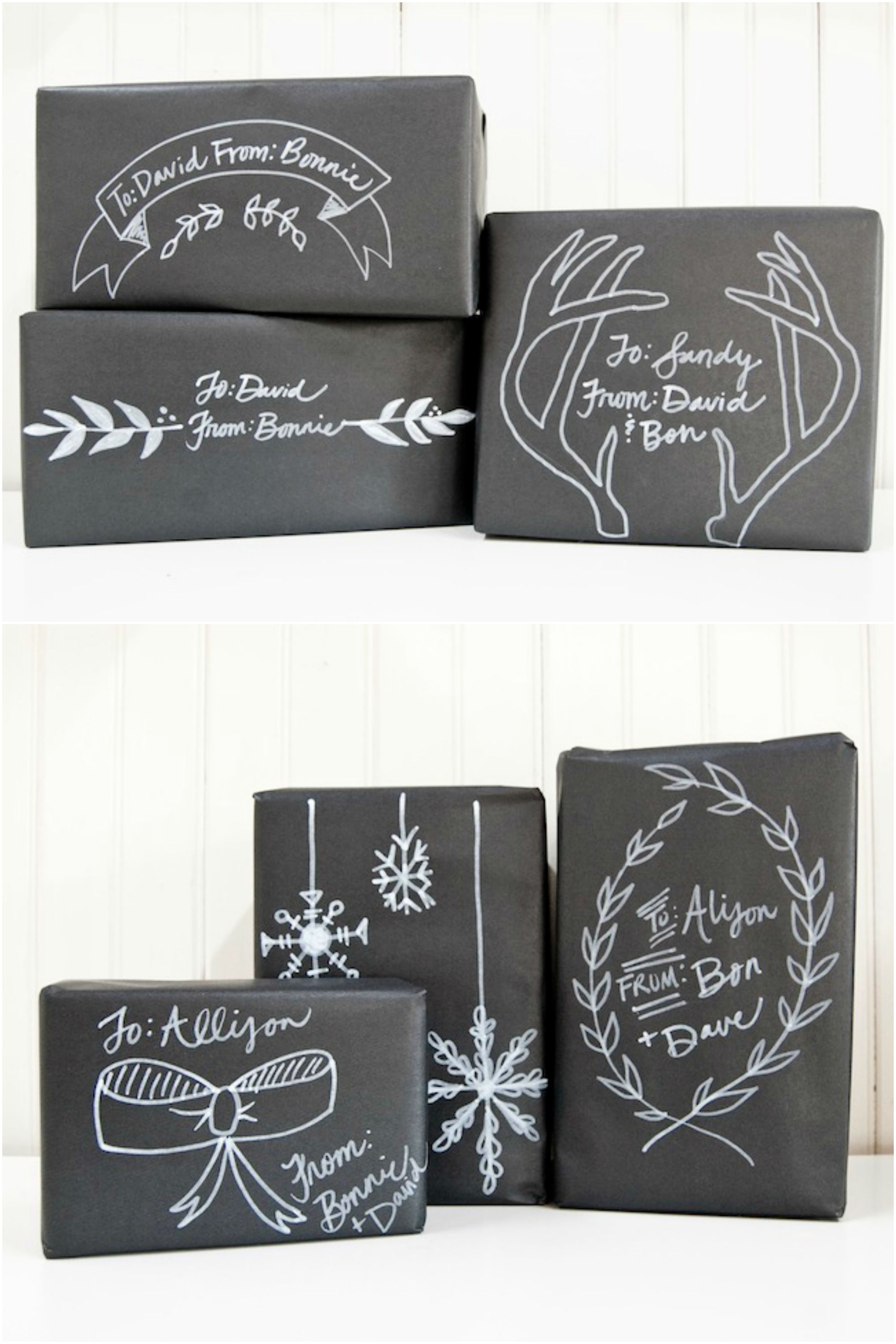 40-Pc Holiday Chalkboard Christmas Gift Bag Set In hand ready to ship