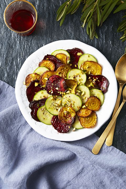 cucumber roasted beet and pistachio salad