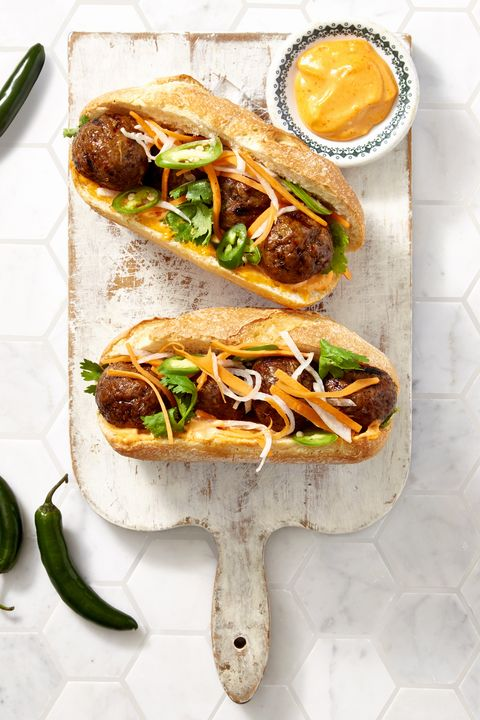 Sriracha Meatball Hoagies - Healthy Lunch Ideas