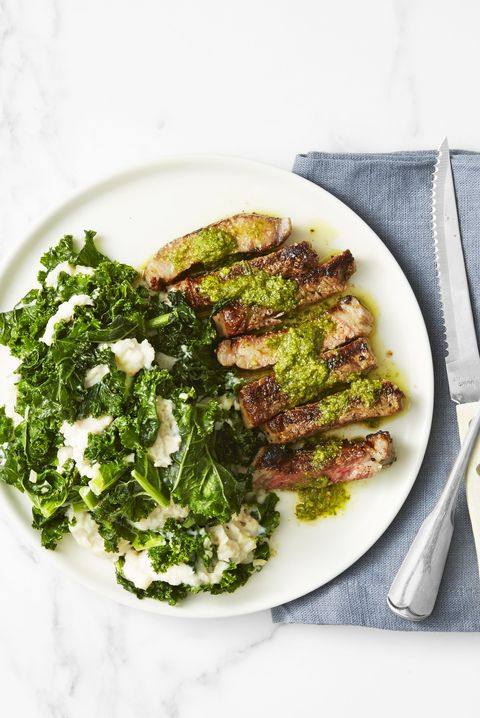Steak with Kale and White-Bean Mash - Valentine's Day Dinner Ideas