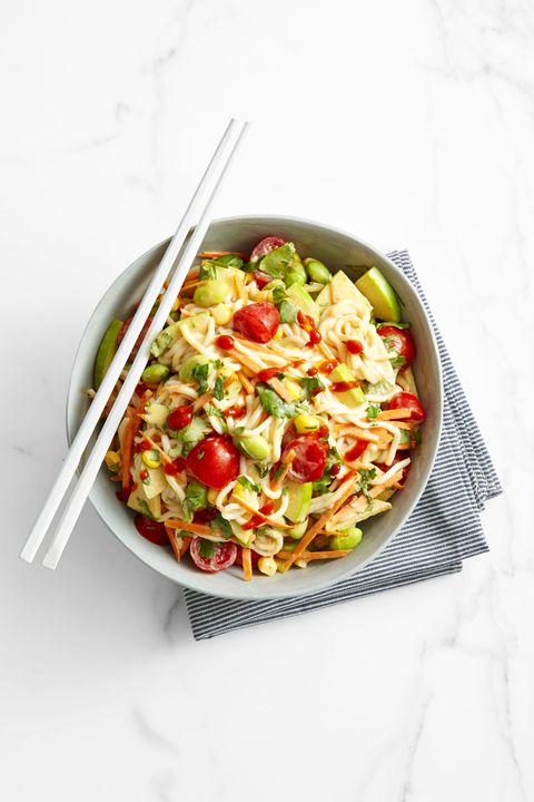tomato recipes  peanutty edamame and noodle salad