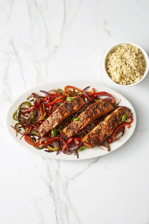Honey-Soy-Glazed Salmon with Peppers