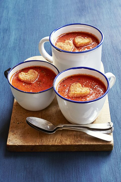 Tomato Soup with Cupid Croutons - Valentine's Day Dinner Ideas