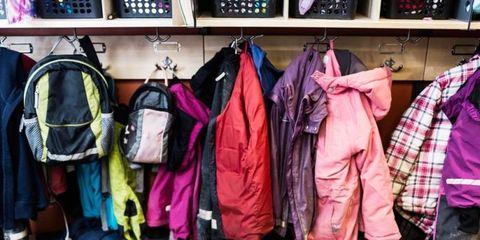 Textile, Room, Shelf, Clothes hanger, Purple, Shelving, Magenta, Plaid, Tartan, Collection,