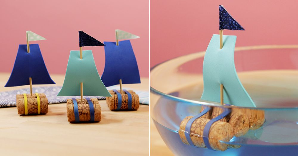 How to Make DIY Sailboats Out of Wine Corks - Kid Craft Projects