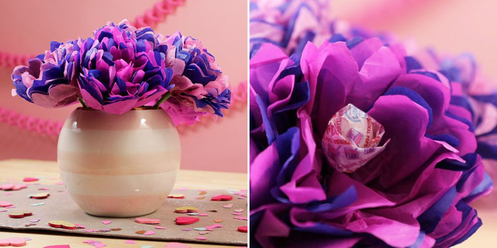 How To Make Tissue Paper Flower Lollipops Valentine S Day Diy Projects