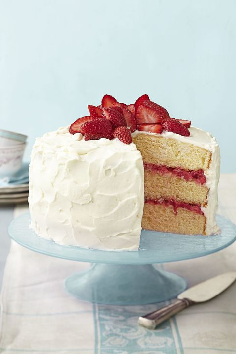 Strawberry Rhubarb Layer Cake - Easter Cakes