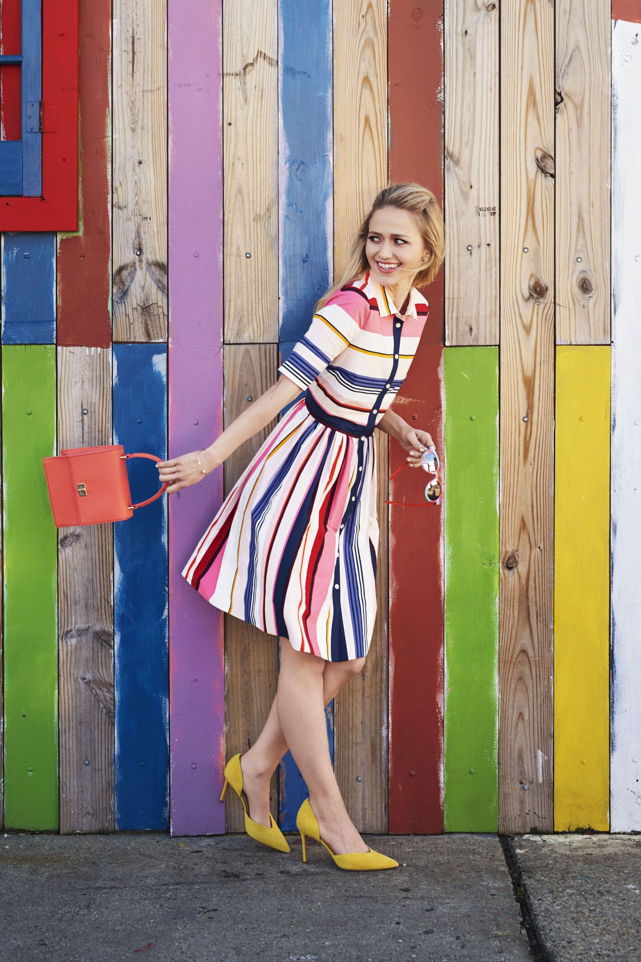 """<p>Prettier than pinstripes and a bit sassier, it's the preppy way to ring in spring.</p><p><em data-redactor-tag=""""em"""" data-verified=""""redactor""""><strong data-redactor-tag=""""strong"""" data-verified=""""redactor"""">Dress,</strong> $398, <a href=""""http://katespade.com"""" target=""""_blank"""" data-tracking-id=""""recirc-text-link"""">katespade.com</a>. <strong data-redactor-tag=""""strong"""" data-verified=""""redactor"""">Earrings,</strong> $22, <a href=""""http://spartina449.com"""" target=""""_blank"""" data-tracking-id=""""recirc-text-link"""">spartina449.com</a>. <strong data-redactor-tag=""""strong"""" data-verified=""""redactor"""">Sunglasses,</strong> $95, <a href=""""http://shop.swatch.com"""" target=""""_blank"""" data-tracking-id=""""recirc-text-link"""">shop.swatch.com</a>. <strong data-redactor-tag=""""strong"""" data-verified=""""redactor"""">Bracelet,</strong> $36, <a href=""""http://admkjewelry.com"""" target=""""_blank"""" data-tracking-id=""""recirc-text-link"""">admkjewelry.com</a>. <strong data-redactor-tag=""""strong"""" data-verified=""""redactor"""">Purse,</strong> $148, <a href=""""http://neelyandchloe.com"""" target=""""_blank"""" data-tracking-id=""""recirc-text-link"""">neelyandchloe.com</a>. <strong data-redactor-tag=""""strong"""" data-verified=""""redactor"""">Heels,</strong> $160, <a href=""""http://marcfisherfootwear.com"""" target=""""_blank"""" data-tracking-id=""""recirc-text-link"""">marcfisherfootwear.com</a>.</em></p><p><strong data-redactor-tag=""""strong"""" data-verified=""""redactor"""">TRAVEL TIP:</strong> Take in authentic Spanish cuisine and colorful&nbsp&#x3B;decor at Long Island City local favorite <a href=""""http://www.lachozadelgordo.com/"""" target=""""_blank"""" data-tracking-id=""""recirc-text-link"""">La Choza del Gordo</a>.</p>"""