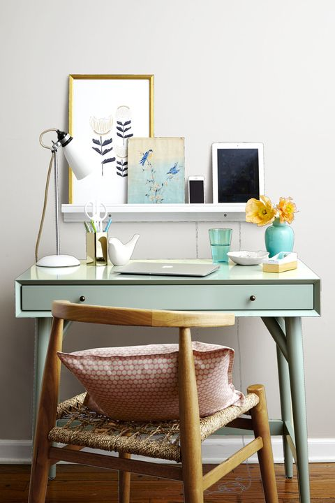 Product, Room, Table, Furniture, Teal, Turquoise, Desk, Aqua, Computer desk, Still life photography,