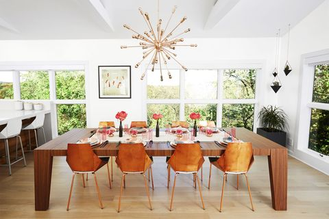 "<p>Dress a dining room&nbsp;to the nines and keep&nbsp;it that way — you'll see&nbsp;your best dishes and&nbsp;always be guest-ready.</p><p><em data-redactor-tag=""em"" data-verified=""redactor"">Cartagena<strong data-redactor-tag=""strong"" data-verified=""redactor""> dining table</strong> in Walnut, Pianca USA, $2,759, <a href=""http://www.wayfair.com"" target=""_blank"" data-tracking-id=""recirc-text-link"">wayfair.com</a>. Copper chairs, Real Good, $299 each, <a href=""http://www.bludot.com"" target=""_blank"" data-tracking-id=""recirc-text-link"">bludot.com</a>. Madero 42 light sputnik<strong data-redactor-tag=""strong"" data-verified=""redactor""> chandelier,</strong> $227, <a href=""http://www.allmodern.com"" target=""_blank"" data-tracking-id=""recirc-text-link"">allmodern.com</a>. Appassionata artwork by Apachennov, <a href=""http://www.amazon.com"" target=""_blank"" data-tracking-id=""recirc-text-link"">amazon.com</a>.&nbsp;</em></p>"