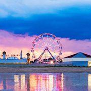 Ferris wheel, Cloud, Water, Dusk, Reflection, Landmark, Evening, Amusement ride, Lake, Amusement park,