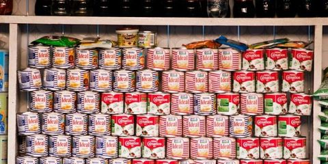 Retail, Convenience store, Grocery store, Aluminum can, Box, Convenience food, Supermarket, Preserved food, Food storage containers, Food storage,