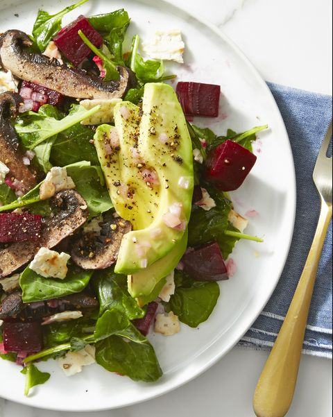 beet, mushroom, and avocado salad   vegan recipes