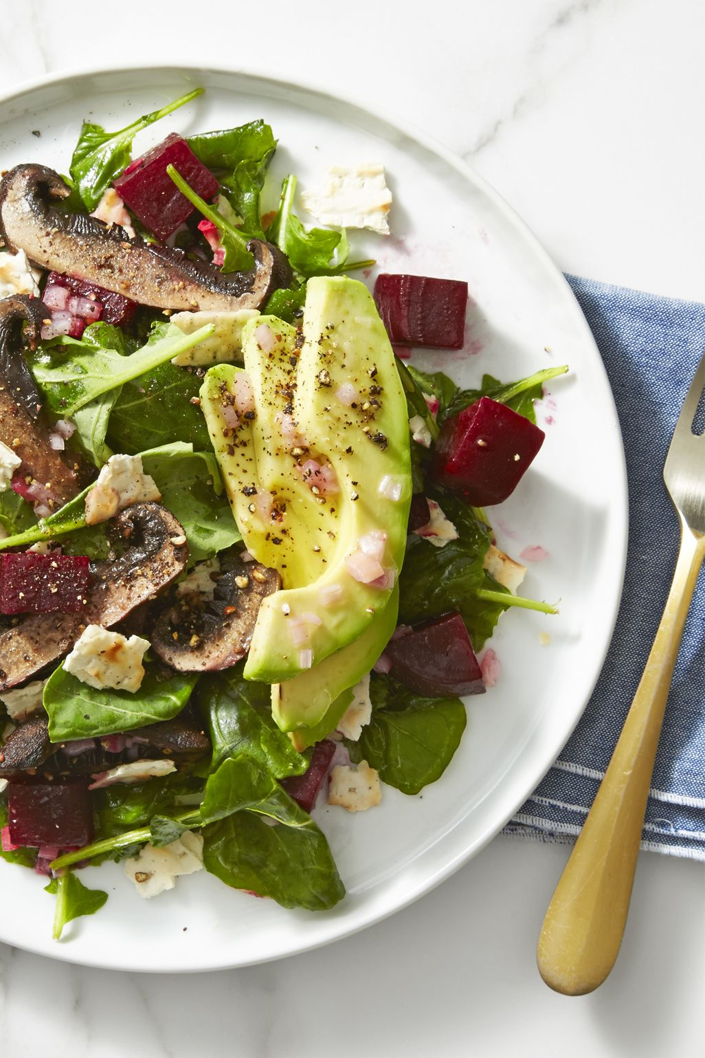 Beet, Mushroom and Avocado Salad