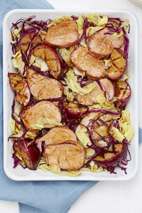 low calorie meals grilled plum and pork salad