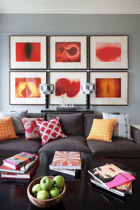 Living room, Room, Orange, Red, Furniture, Interior design, Couch, Property, Home, Wall,