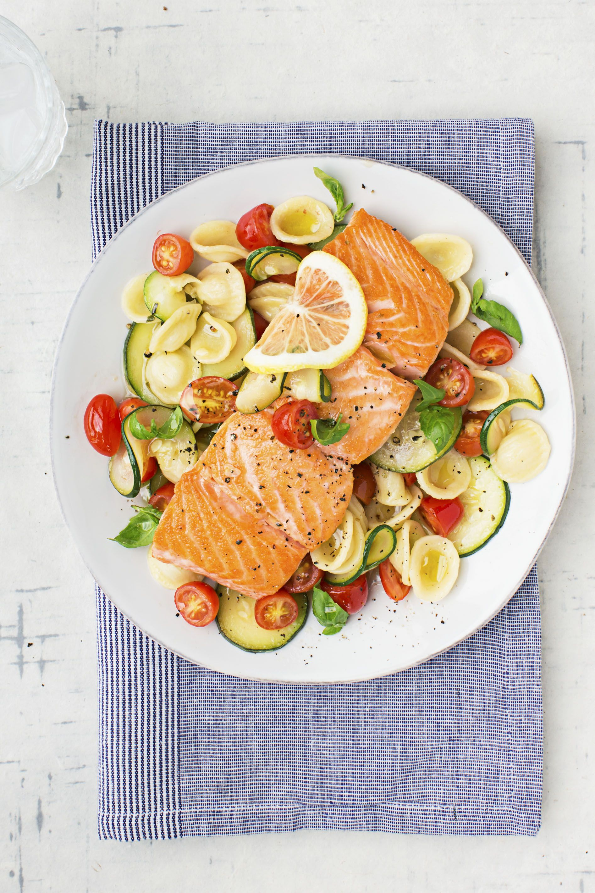 warm pasta salad with salmon