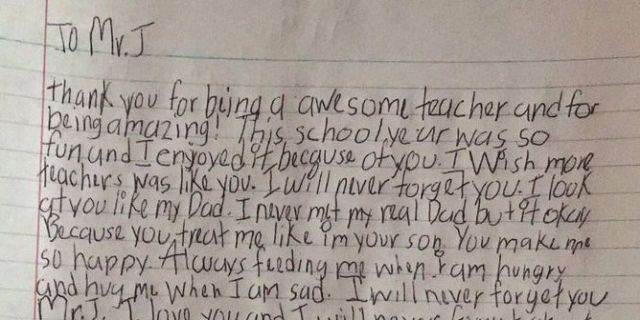 Kid Reportedly Writes Letter to Hero Teacher - Letter that a