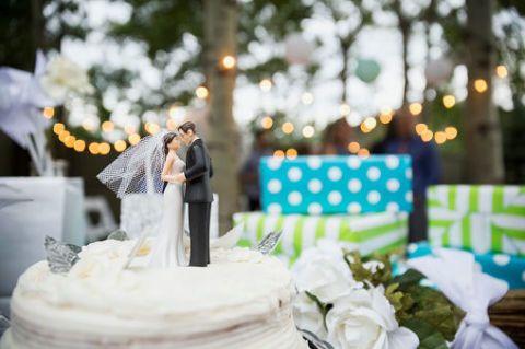Cake, Dessert, Ingredient, Baked goods, Petal, Bridal clothing, Dress, Bride, Cake decorating, Gown,
