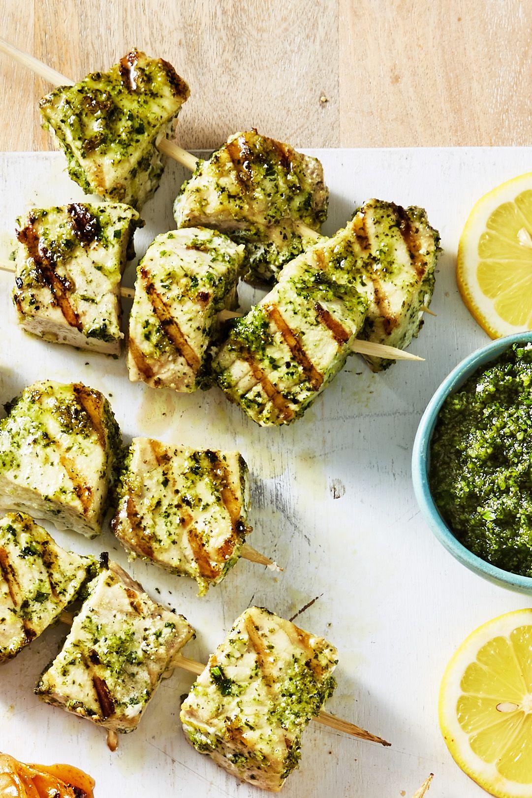 Swordfish Kebabs with Mint Pesto Recipe ...