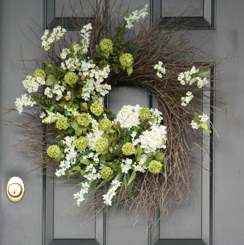 Green and White Wreath - Summer Wreaths