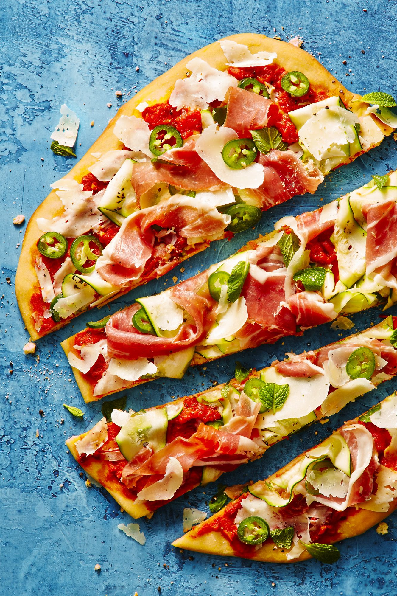 Shaved Zucchini and Prosciutto Grilled Pizza