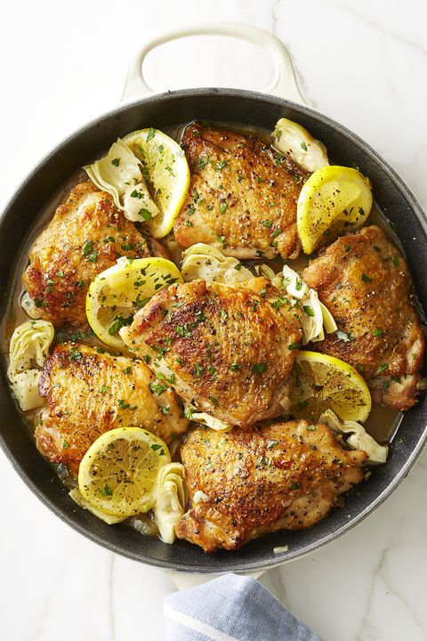 skillet lemon chicken with artichokes   valentine's day dinner ideas