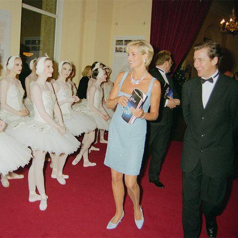 princess diana attends swan lake at royal albert hall