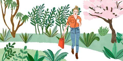 Human, Leaf, People in nature, Woody plant, Art, Flowering plant, Animation, Illustration, Graphics, Shrub,